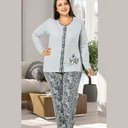 Rozpinana piżama damska długie spodnie szara śliczny wzór XL 2XL 3XL 4XL