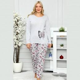 Piżama damska szara plus size długie spodnie XL 2XL 3XL 4XL
