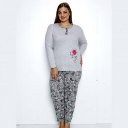 Piżama damska z różowym nadrukiem szara długie spodnie XL 2XL 3XL 4XL