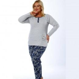 Piżama szara damska z roślinnym motywem długie spodnie  XL 2XL 3XL 4XL