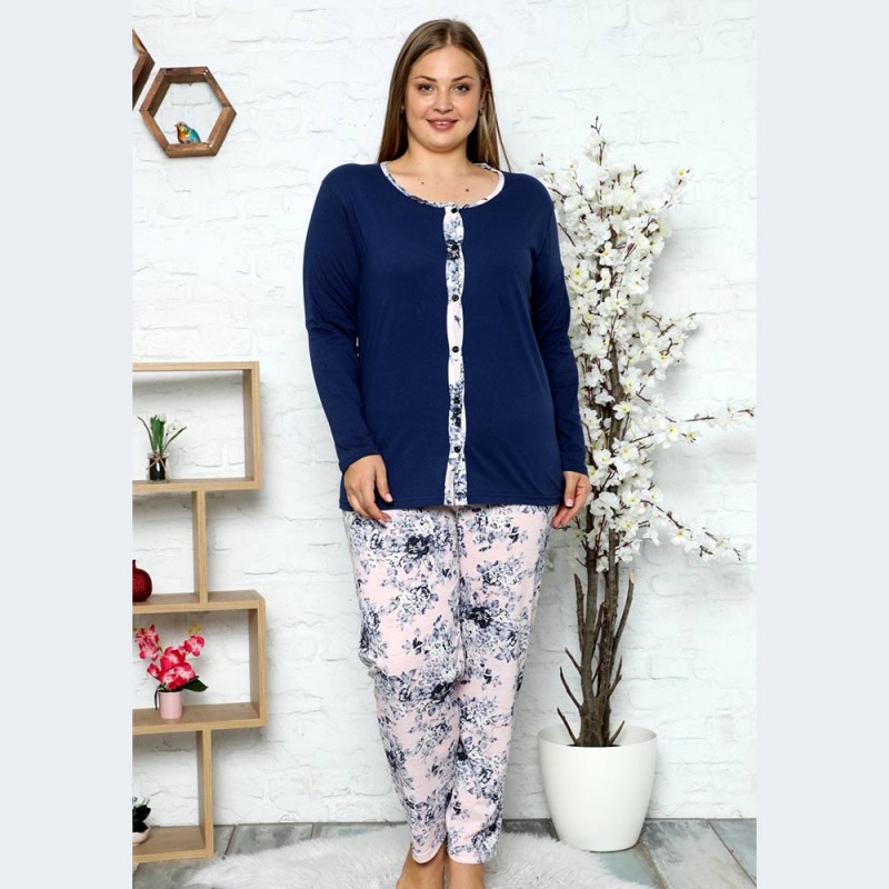 Elegancka rozpinana piżama damska granatowa długie spodnie XL 2XL 3XL 4XL