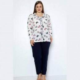 Piżama damska w motyle elegancka długie spodnie XL 2XL 3XL 4XL