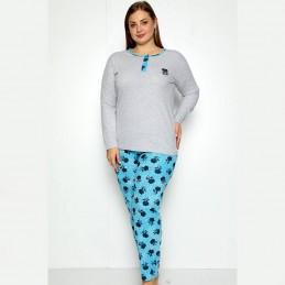 Wygodna piżama damska niebiesko-szara długie spodnie XL 2XL 3XL 4XL