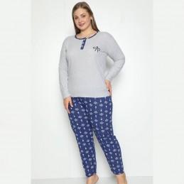 Piżama damska urocza we wzór w kokardki długie spodnie  XL 2XL 3XL 4XL