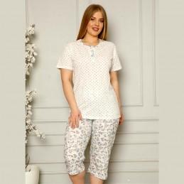 Dwuczęściowa piżama damska z super wzorem w niebieskie kwiatuszki XL 2XL 3XL 4XL