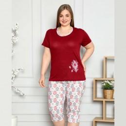 Piżama damska z pięknym wzorem dwuczęściowa kolor bordowy XL 2XL 3XL 4XL