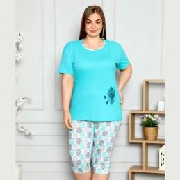 Dwuczęściowa piżama damska wzór w pióra kolor turkusowy XL 2XL 3XL 4XL