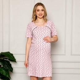 Koszula nocna w różowym kolorze do karmienia śliczny wzór M L XL 2XL