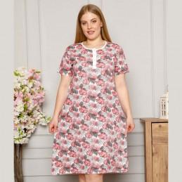 Piękna bawełniana koszula nocna kolor różowy duże rozmiary XL 2XL 3XL 4XL