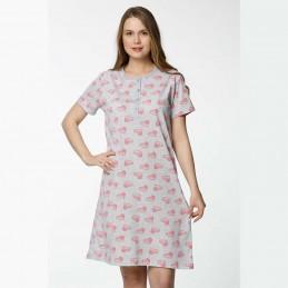 Koszula nocna bawełniana romantyczny wzór w serduszka M L XL 2 XL