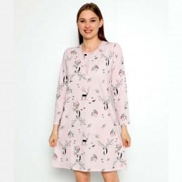 Długa koszula nocna kolor różowy uroczy wzór M L XL 2 XL
