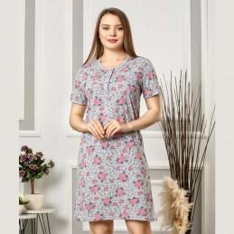 Romantyczna rozpinana koszula nocna kolor szaro-różowy w róże M L XL 2XL