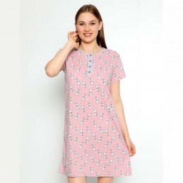 Bawełniana jasnoróżowa koszula nocna wzór w króliczki M L XL 2XL