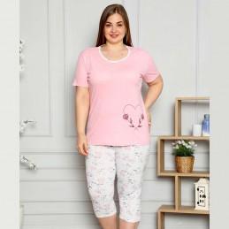 Dwuczęściowa śliczna piżama damska kolor różowy XL 2XL 3XL 4XL