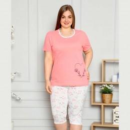 Dwuczęściowa piżama damska z sercem i kwiatami kolor łososiowy XL 2XL 3XL 4XL