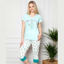 Śliczna dwuczęściowa piżama damska kaktus w miętowym odcieniu M L XL 2XL