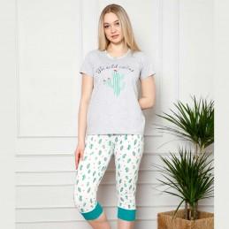 Dwuczęściowa delikatna szara piżama damska wzór w kaktusy M L XL 2XL