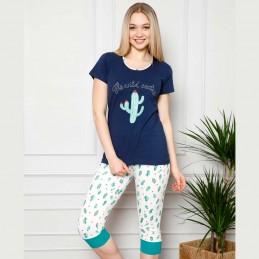 Wygodna dwuczęściowa piżama damska śliczny wzór z kaktusami M L XL 2XL