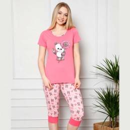 Piżama damska w malinowym kolorze wzór z pandą dwuczęściowa M L XL 2XL