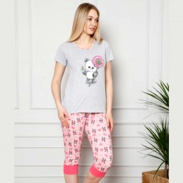 Dwuczęściowa różowo-szara piżama damska nadrukiem z piękną pandą M L XL 2XL