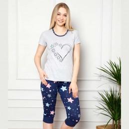 Dwuczęściowa urocza szara piżama damska wzór w serce i gwiazdki M L XL 2XL