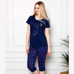 Letnia piżama damska komplet kolor granatowy z nadrukiem M L XL 2XL