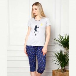 Letnia szaro-granatowa piżama damska wzór z kotami M L XL 2XL