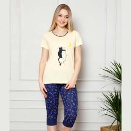 Letnia piżama damska w jasnożółtym kolorze w kotki M L XL 2XL