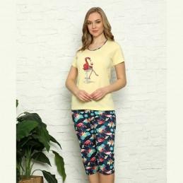Żółta piżama damska z letnim wzorem z flamingiem M L XL 2XL 3XL