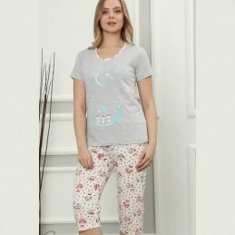 Super piżama damska na lato jasny kolor z uroczym wzorem M L XL 2XL