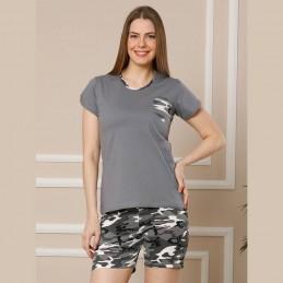 Letnia piżama damska szara krótkie spodenki wzór moro M L XL 2XL