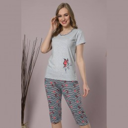 Letnia wygodna piżama damska z motylami wzór w paski M L XL 2XL