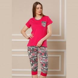 Letnia piżama damska wzór moro w malinowym kolorze M L XL 2XL