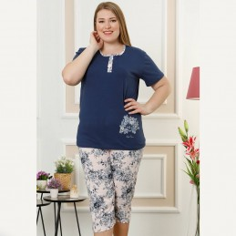 Bawełniana dwuczęściowa piżama damska kolor granatowy rozpinana XL 2XL 3XL 4XL