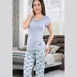 Koronkowa jasna piżama damska z wiskozy M L XL