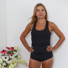 Czarna letnia piżama damska wzór w kropki ONE SIZE