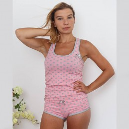 Śliczna piżama damska na ramiączkach kolor różowy w grochy ONE SIZE