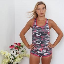 Szaro-różowa piżama damska na ramiączkach wzór moro ONE SIZE