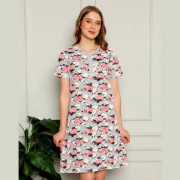 Koszula nocna w kwiaty z krótkim rękawem kolor szaro-różowy M L XL 2XL