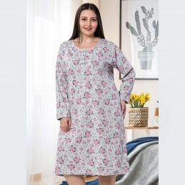 Długa koszula nocna w jasnoszarym kolorze wzór w róże XL 2XL 3XL 4XL
