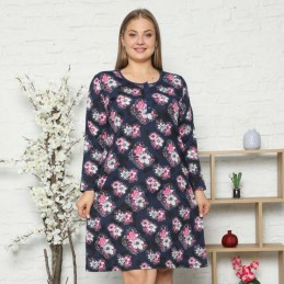 Piękna koszula nocna z długim rękawem kwiatowy duży wzór XL 2XL 3XL 4XL