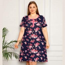Bawełniana koszula nocna elegancki wzór plus size XL 2XL 3XL 4XL
