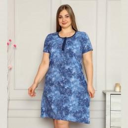 Bawełniana koszula nocna rozpinana w kolorze niebieskim XL 2XL 3XL 4XL