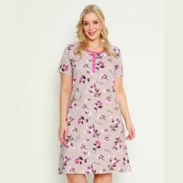 Bawełniana beżowa koszula nocna wzór w różowe kwiaty XL 2XL 3XL 4XL